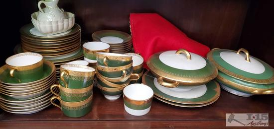 Very unique and antique!! Full set of green and gold Limoges France dishes with serving pots, and