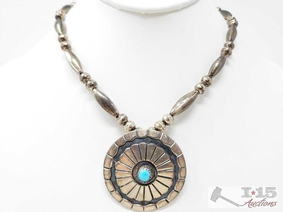 Sadie Sam Old Pawn Navajo Beaded Sterling Silver Necklace with Large Turquoise Pendent, 29.5g