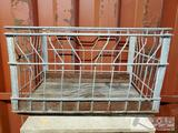 Antique Carnation Metal Milk Crate