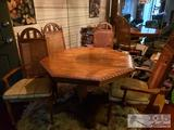 Octagon Shaped Dining Room Table with 4 Chairs