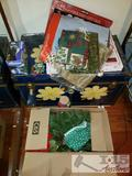 Trunk and Box Full of Christmas Decorations