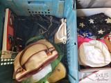 Assorted Hats, Handbags, and Clock