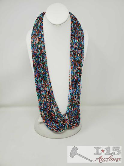 One of a Kind Large American Indian Beaded Necklace w/Turquoise/Oyster ends set in Heavy Sterling