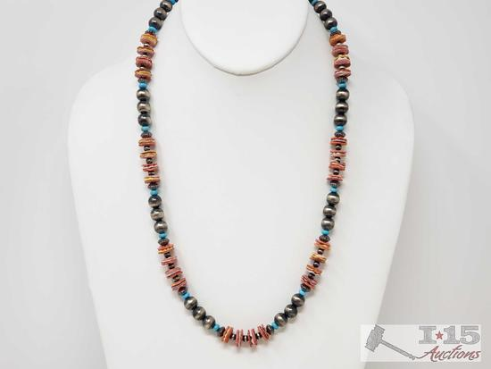 Native American Hand Beaded Spiny Oyster, Turqouse and Sterling Silver Pawn Beads Necklace