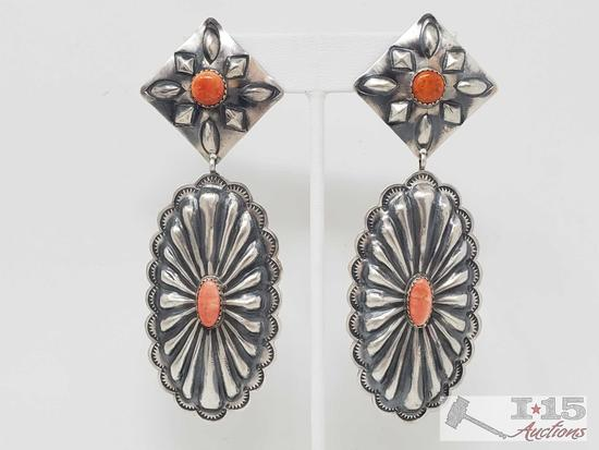 Spiny Oyster and sterling silver Native American earrings.. Marked by Artist 22.5g