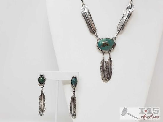 Native American Artist Marked Sterling Silver Feather and Turquoise Stone Necklace Set, 53.4g