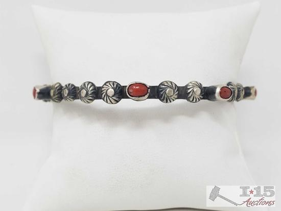 Artist Marked Native American Sterling Silver and Coral Stone Bangle Bracelet