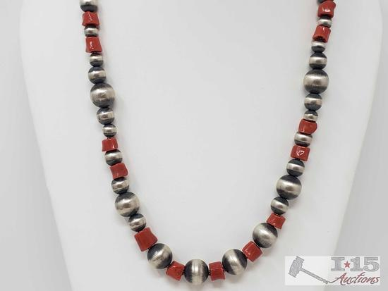 Heavy Handmade Native American Sterling Silver Neckalce with Blood Red Coral Stones 62.2g
