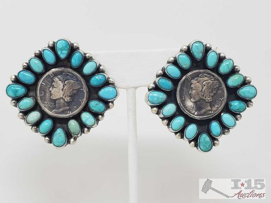 Artist Marked Amazing Pair of Sterling Silver and Turquoise Earrings with Authentic... Mercury Dimes