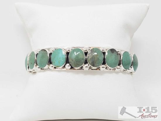 Beautiful Sterling Silver and Green Turquoise Native American Bracelet...Cuff 40.3g