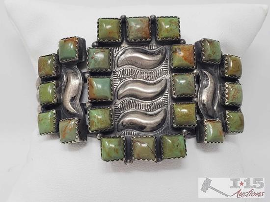 Artist Marked Native American Sterling Silver and Green Turquoise Cuff Bracelet, 54g