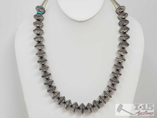 Handmade Sterling Silver & Turquoise Necklace made Completely... out of Authentic Mercury Dimes