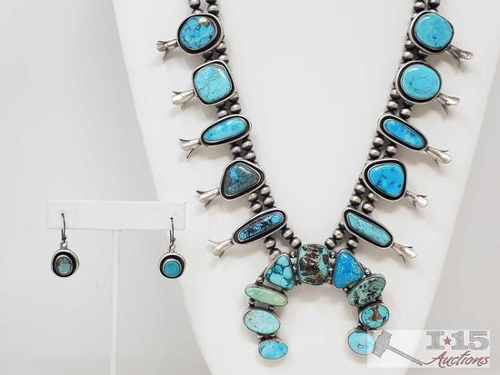 Authintic One of A Kind Artist Marked Sterling Silver and Turquoise Squash Blossom SET