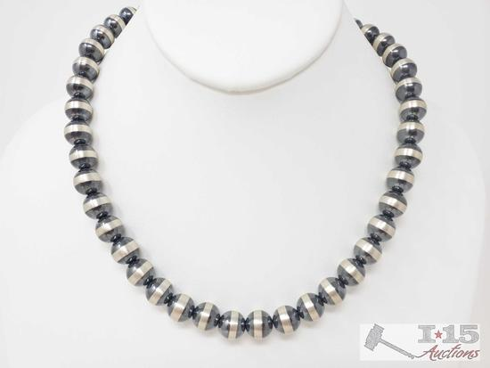 Sterling Silver Native American Pawn Bead Necklace, 43.9g