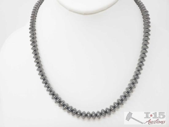 Handmade Native American Sterling Silver Pawn Bead Necklace