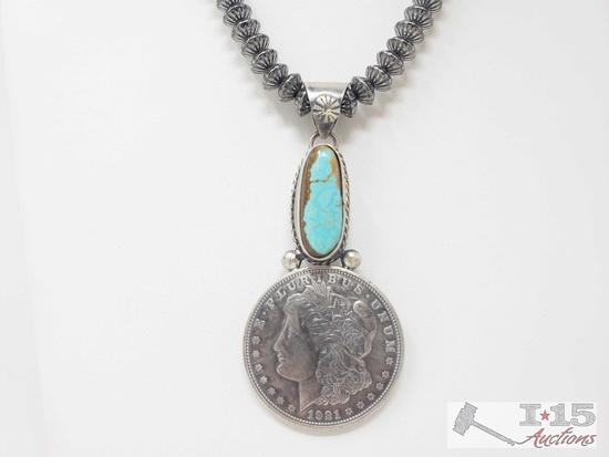 Beautiful Artist Marked Sterling Pendent with a Authentic Morgan Silver Dollar (chain not included)