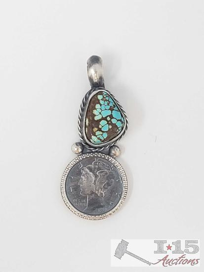 Beautiful Artist Marked Sterling Pendent with a Authentic Mercury Dime (chain not included)