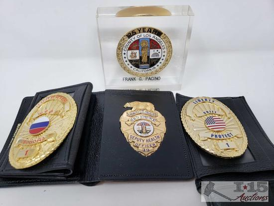 3 Badges, 1 Russian, County of Los Angeles Deputy Health Officer, and Liberty/Chief/Protect