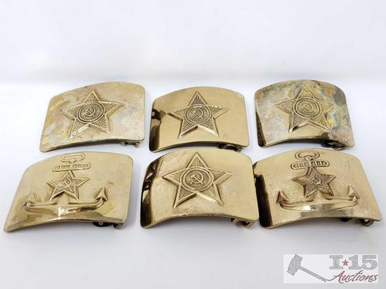 6 Vintage Russian Army Hammer and Sickle Belt Buckles