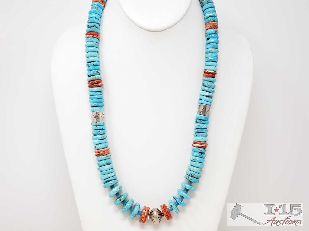 Gorgeous Hand Beaded Native American Turqouse, Spiny Oyster and Sterling Necklace