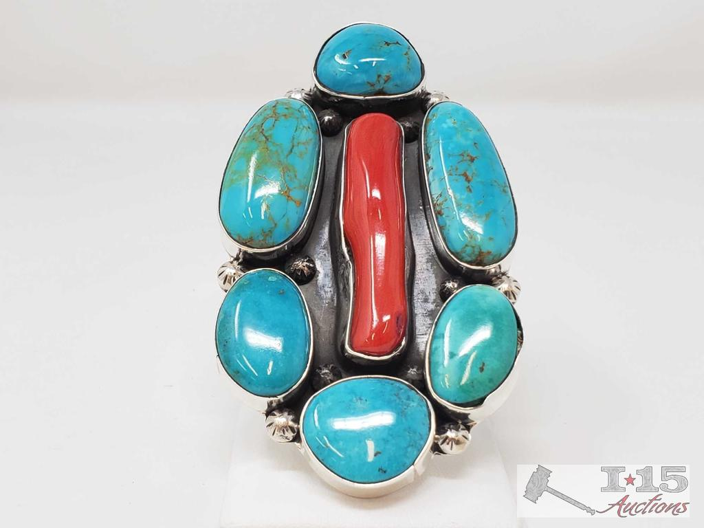 One of a Kind Chunky Native American Ring with Large Coral and Turquoise Stones Artist Marked
