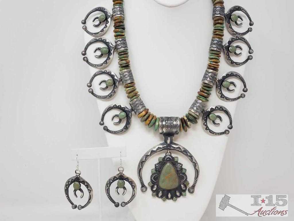 IMPORTANT Native American Sterling Silver Squash Blossom Set with Amazing Green Turqouse 391.8g
