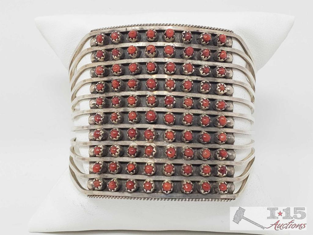 Zuni 10 Row Handmade Sterling Silver Coral Bracelet -S. Livingston Bracelet