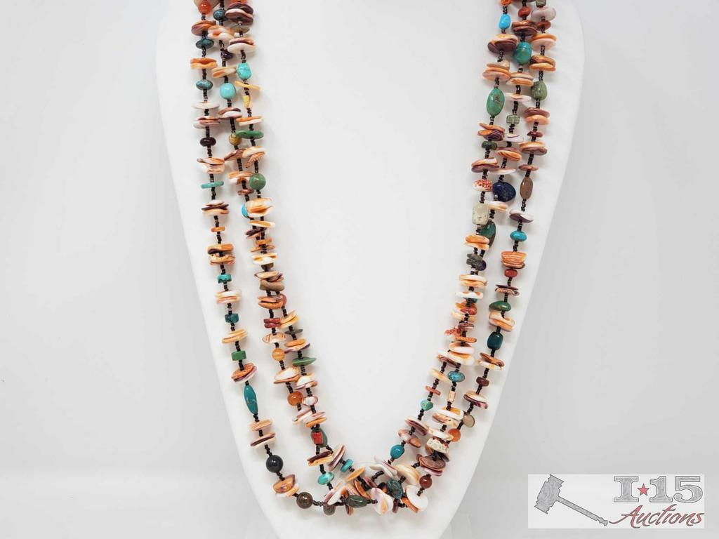 Colorful 3 Strand Sterling Silver Native American Spiny Oyster, Turquoise and Heishi Necklace