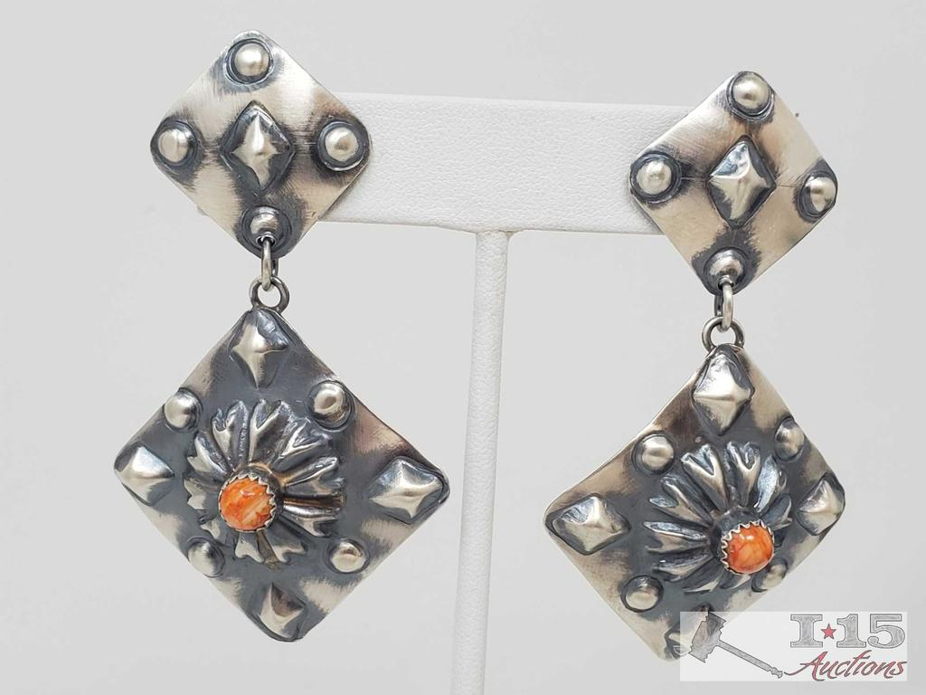 Beautiful Tim Yazzie Sterling Silver and Spiny Oyster Earrings, 15.6g