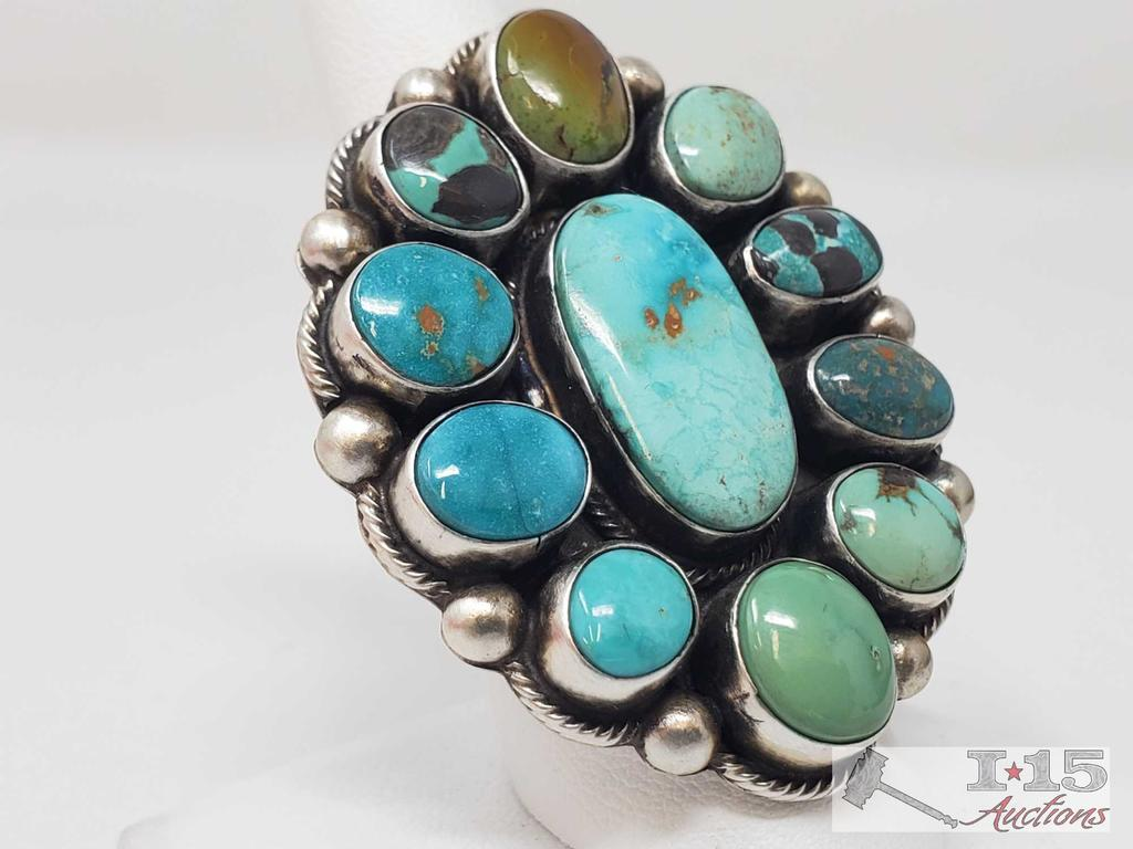 Original Kathleen G Marked Chunky Sterling Silver and Turquoise Cluster Ring in a size 8
