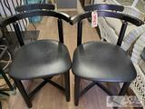 Two Leather Cushion Black chairs with back supports