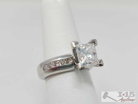 .950 Platinum 2ct Princess Cut Diamond Channel Set Ring, 18.5g
