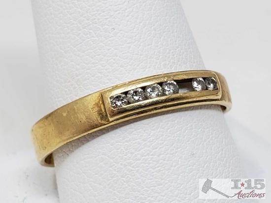18k Gold Channel Set Diamond Band, 3.8g