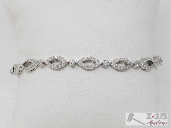Tiffany & Co .950 Platinum Bezel Set Diamond Bracelet, 15.3g