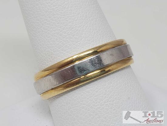 18k Gold and Platinum Men's Wedding Band, 9.1g