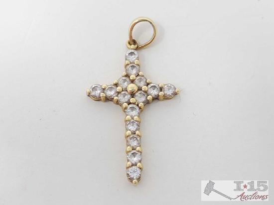 18k Gold Diamond Cross Pendent, 1.9g