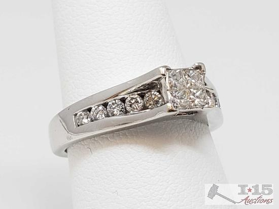 14k Gold Illusion Set Diamond Ring with Channel Set Diamonds in Band, 5.7g