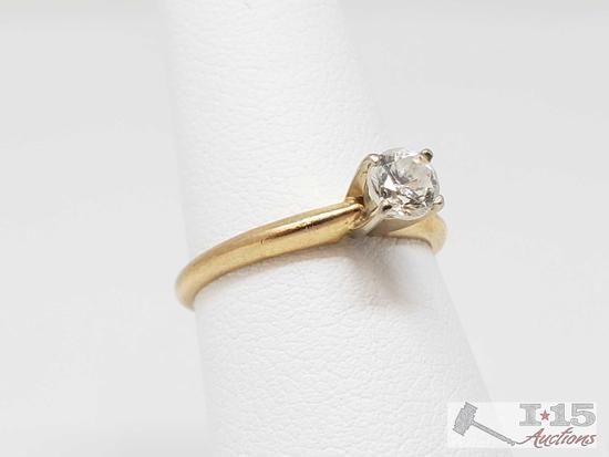 14k Gold Round Cut .25ct Solitaire Diamond Ring, 2.1g