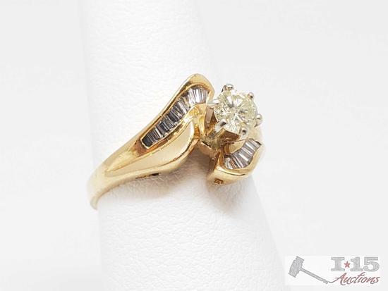 14k Gold Round Cut .25ct Diamond Ring, 3.5g