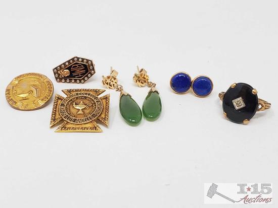 10k Gold Jewelry, Onyx & Diamond Ring, Jade Earrings, Cobalt color earrings, pins & medallions.