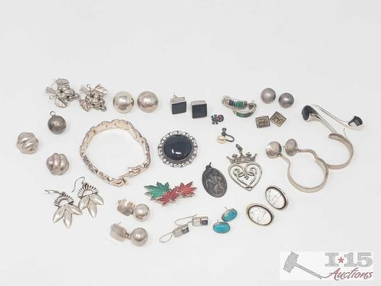 Beautiful Sterling Silver Jewelry, Pierced earrings w/ turquoise other stones, bracelet, & pendants