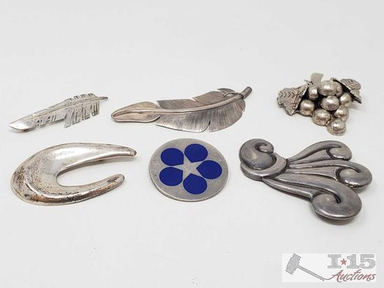 6 Sterling Silver Broochs,91g