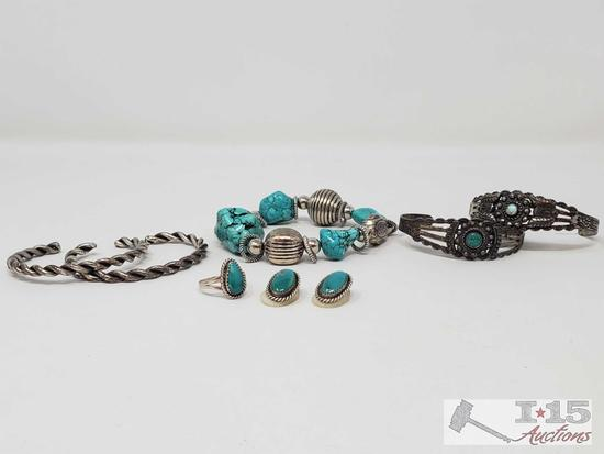 Vintage lot of Sterling Silver and turquoise Native American Old Pawn Jewelry