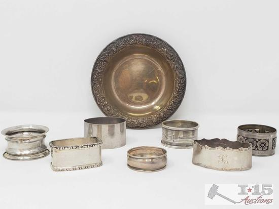 Sterling Silver Napkin Rings and Plate, 234g