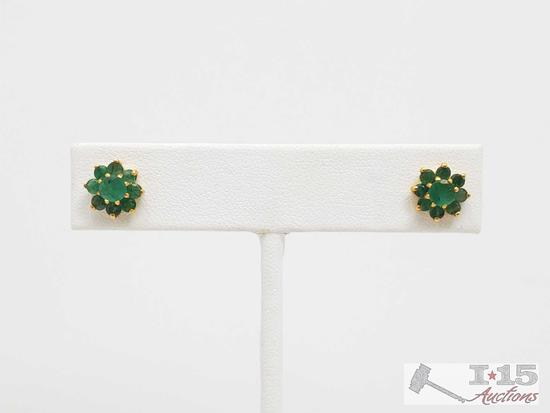 Pair of 18k Gold & Emerald Pierced Earrings, Tested, 2.5g