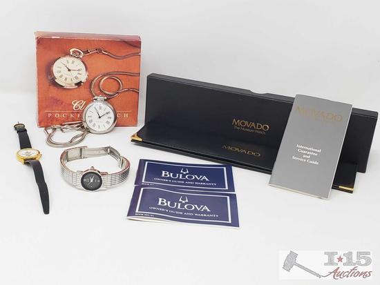 Pocket Swiss Watch, Anne Klein Watch, Custom Watch, Movado Watch Case and 2 Bulova Watch Owners