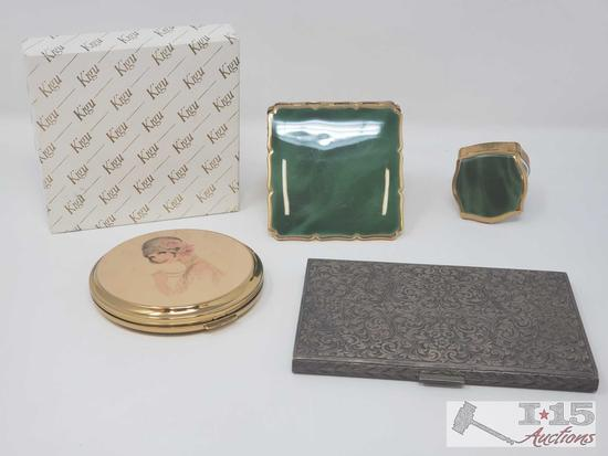 .800 Silver Card Holder and 3 Vintage Makeup Compacts, 175.7g