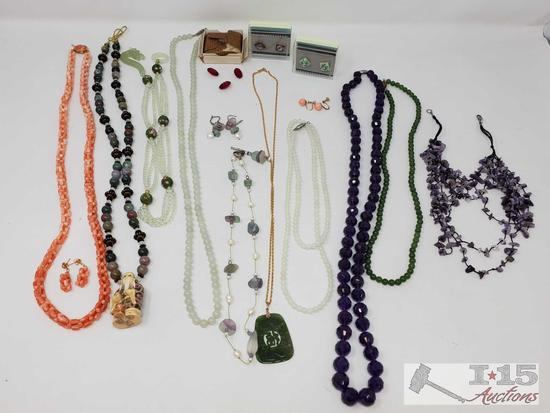 Lot of Vintage Natural & Polished Stone and Bead Jewelry