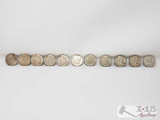 4 Franklin Half Dollars Denver Mint 7 Half Dollars Philadelphia Mint