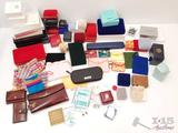 Various Sizes of Empty BoxesLot of various size trinket boxes and bags, wallet, change purses